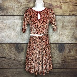 Modcloth Belted Short Sleeve Dress Floral NEW